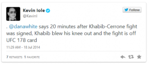 Khabib Knee blew out after signing to fight Cerrone