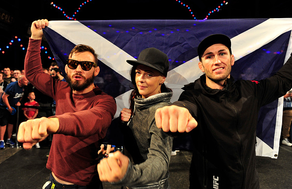 GLASGOW, SCOTLAND - JULY 15: (L-R) Rob Whiteford, Joanne Calderwood and Stevie Ray during the UFC Ultimate Media day and Open Workouts at Glasgow's Old Fruitmarket on July 15, 2015 in Glasgow, Scotland. (Photo by Joey Kelly/Zuffa LLC/Zuffa LLC via Getty Images)
