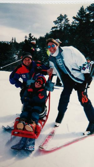 Skiing with mom at Bear Mountain 1998